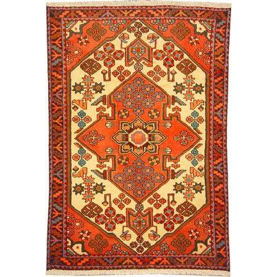 "Authentic Persian Rug saveh Traditional Style Hand-Knotted Indoor Area Rug with Natural Wool and Cotton  4'11""  X  3'3"" ABCR02567"
