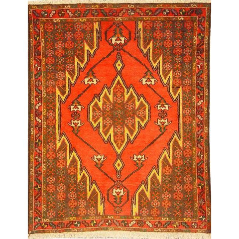 "Authentic Persian Rug saveh Traditional Style Hand-Knotted Indoor Area Rug with Natural Wool and Cotton  4'5""  X  3'5"" ABCR02807"