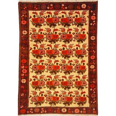 "Authentic Persian Rug saveh Traditional Style Hand-Knotted Indoor Area Rug with Natural Wool and Cotton  4'7""  X  3'1"" ABCR02278"