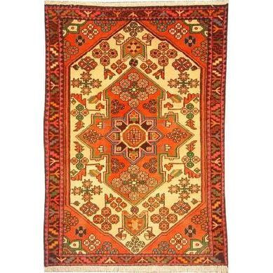 "Authentic Persian Rug saveh Traditional Style Hand-Knotted Indoor Area Rug with Natural Wool and Cotton  4'11""  X  3'3"" ABCR02399"