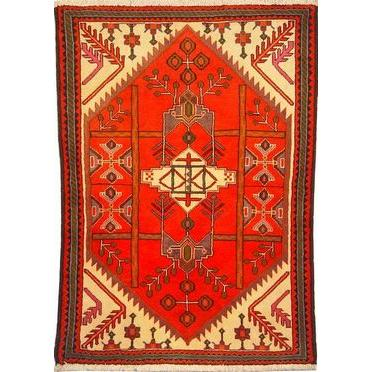 "Authentic Persian Rug saveh Traditional Style Hand-Knotted Indoor Area Rug with Natural Wool and Cotton  5'1""  X  3'5"" ABCR02289"