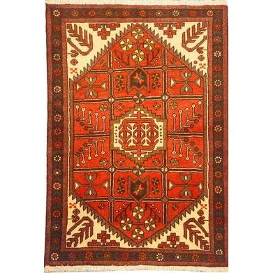 "Authentic Persian Rug saveh Traditional Style Hand-Knotted Indoor Area Rug with Natural Wool and Cotton  4'11""  X  3'3"" ABCR02255"