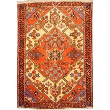 "Authentic Persian Rug saveh Traditional Style Hand-Knotted Indoor Area Rug with Natural Wool and Cotton  5'2""  X  3'7"" ABCR02486"