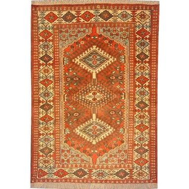 "Authentic Persian Rug yalameh Traditional Style Hand-Knotted Indoor Area Rug with Natural Wool and Cotton  4'10""  X  3'4"" ABCR02438"