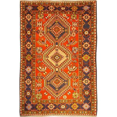 "Authentic Persian Rug yalameh Traditional Style Hand-Knotted Indoor Area Rug with Natural Wool and Cotton  5'2""  X  3'6"" ABCR02433"