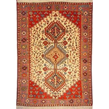 "Authentic Persian Rug yalameh Traditional Style Hand-Knotted Indoor Area Rug with Natural Wool and Cotton  4'11""  X  3'6"" ABCR02404"