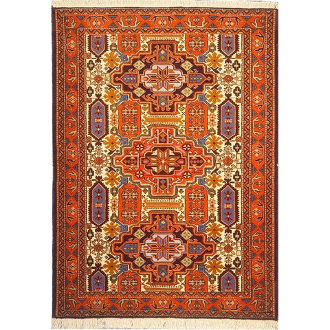 "Authentic Persian Rug ardabil Traditional Style Hand-Knotted Indoor Area Rug with Natural Wool and Cotton  5'1""  X  3'7"" ABCR02950"
