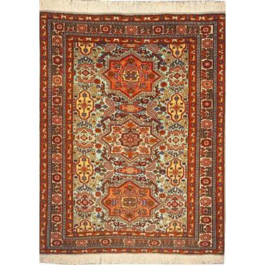 "Authentic Persian Rug ardabil Traditional Style Hand-Knotted Indoor Area Rug with Natural Wool and Cotton  4'11""  X  3'7"" ABCR02099"