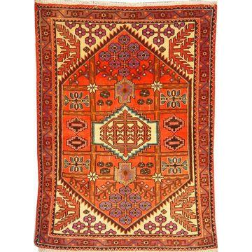 "Authentic Persian Rug saveh Traditional Style Hand-Knotted Indoor Area Rug with Natural Wool and Cotton  4'11""  X  3'5"" ABCR02573"