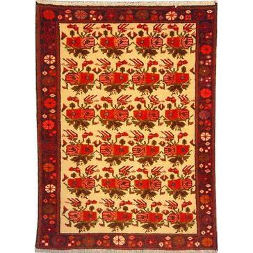 "Authentic Persian Rug saveh Traditional Style Hand-Knotted Indoor Area Rug with Natural Wool and Cotton  4'7""  X  3'3"" ABCR02391"