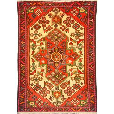"Authentic Persian Rug saveh Traditional Style Hand-Knotted Indoor Area Rug with Natural Wool and Cotton  4'11""  X  3'5"" ABCR02184"