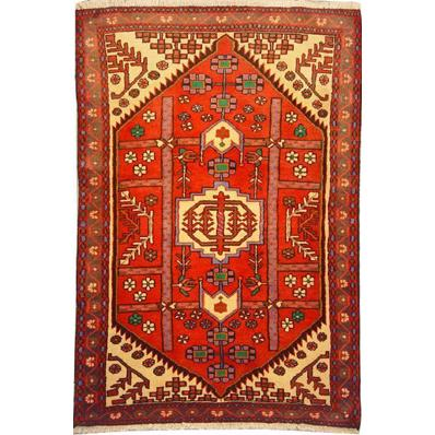 "Authentic Persian Rug saveh Traditional Style Hand-Knotted Indoor Area Rug with Natural Wool and Cotton  5'1""  X  3'3"" ABCR02194"
