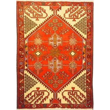 "Authentic Persian Rug saveh Traditional Style Hand-Knotted Indoor Area Rug with Natural Wool and Cotton  4'7""  X  3'3"" ABCR02241"