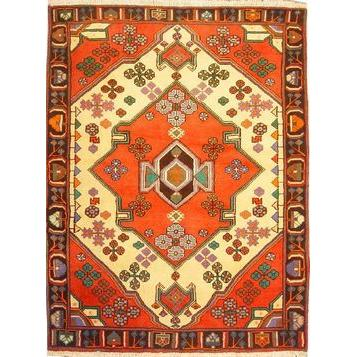 "Authentic Persian Rug saveh Traditional Style Hand-Knotted Indoor Area Rug with Natural Wool and Cotton  4'11""  X  3'3"" ABCR02564"