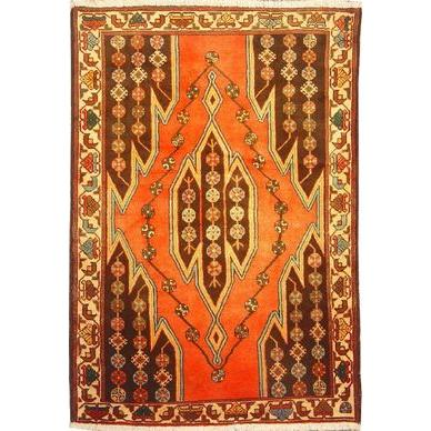 "Authentic Persian Rug saveh Traditional Style Hand-Knotted Indoor Area Rug with Natural Wool and Cotton  5'2""  X  3'7"" ABCR02568"