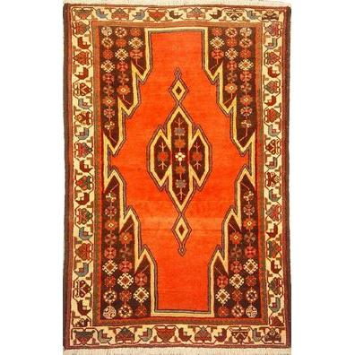 "Authentic Persian Rug saveh Traditional Style Hand-Knotted Indoor Area Rug with Natural Wool and Cotton  5'2""  X  3'5"" ABCR02550"