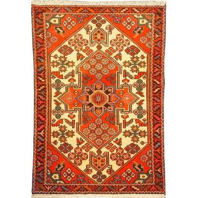 "Authentic Persian Rug saveh Traditional Style Hand-Knotted Indoor Area Rug with Natural Wool and Cotton  4'11""  X  3'3"" ABCR02572"