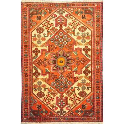 "Authentic Persian Rug saveh Traditional Style Hand-Knotted Indoor Area Rug with Natural Wool and Cotton  4'11""  X  3'3"" ABCR02560"