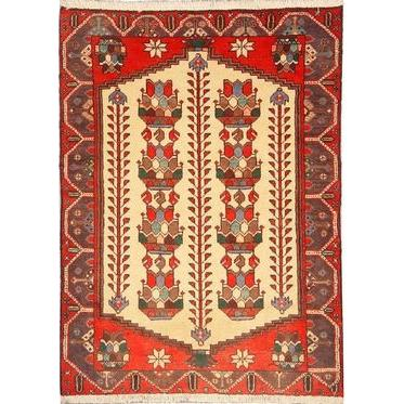"Authentic Persian Rug saveh Traditional Style Hand-Knotted Indoor Area Rug with Natural Wool and Cotton  4'9""  X  3'3""  ABCR02546"