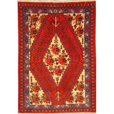 "Authentic Persian Rug saveh Traditional Style Hand-Knotted Indoor Area Rug with Natural Wool and Cotton  4'11""  X  3'3"""" ABCR02655"