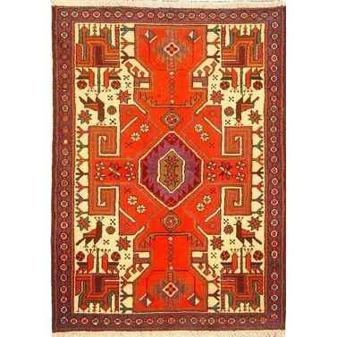 "Authentic Persian Rug saveh Traditional Style Hand-Knotted Indoor Area Rug with Natural Wool and Cotton  4'7""  X  3'3"" ABCR02259"