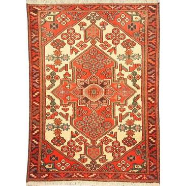 "Authentic Persian Rug saveh Traditional Style Hand-Knotted Indoor Area Rug with Natural Wool and Cotton  4'7""  X  3'5"" ABCR02537"