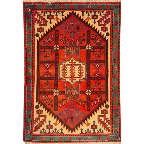 "Authentic Persian Rug saveh Traditional Style Hand-Knotted Indoor Area Rug with Natural Wool and Cotton  4'11""  X  3'5"" ABCR02216"