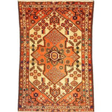 "Authentic Persian Rug saveh Traditional Style Hand-Knotted Indoor Area Rug with Natural Wool and Cotton  4'11""  X  3'3"" ABCR02183"