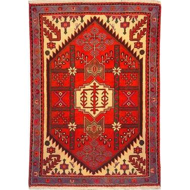 "Authentic Persian Rug saveh Traditional Style Hand-Knotted Indoor Area Rug with Natural Wool and Cotton  4'11""  X  3'3"" ABCR02569"