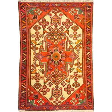 "Authentic Persian Rug saveh Traditional Style Hand-Knotted Indoor Area Rug with Natural Wool and Cotton   4'11""  X  3'3"" ABCR02540"