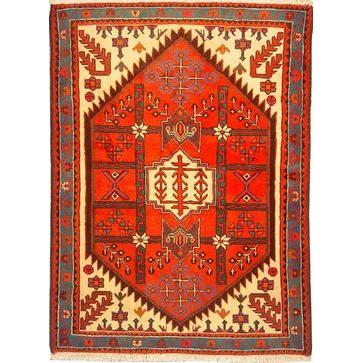 "Authentic Persian Rug saveh Traditional Style Hand-Knotted Indoor Area Rug with Natural Wool and Cotton  4'11""  X  3'7"" ABCR02298"