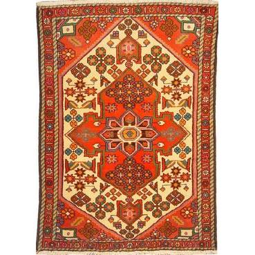 "Authentic Persian Rug saveh Traditional Style Hand-Knotted Indoor Area Rug with Natural Wool and Cotton  4'11""  X  3'5"" ABCR02561"