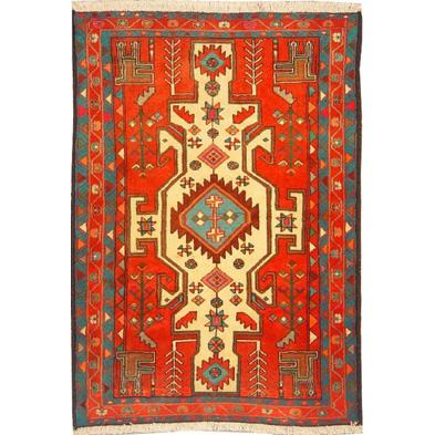 "Authentic Persian Rug saveh Traditional Style Hand-Knotted Indoor Area Rug with Natural Wool and Cotton  4'11""  X  3'5"" ABCR02181"