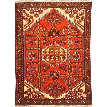 "Authentic Persian Rug saveh Traditional Style Hand-Knotted Indoor Area Rug with Natural Wool and Cotton  4'9""  X  3'3"" ABCR02548"