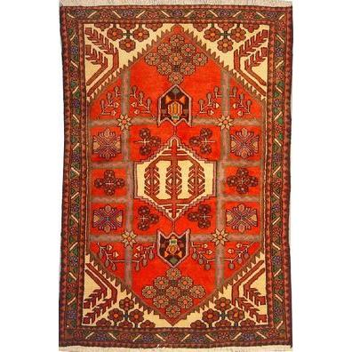 "Authentic Persian Rug saveh Traditional Style Hand-Knotted Indoor Area Rug with Natural Wool and Cotton  4'11""  X  3'3"" ABCR02331"