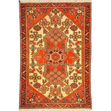 "Authentic Persian Rug saveh Traditional Style Hand-Knotted Indoor Area Rug with Natural Wool and Cotton  4'11""  X  3'3"" ABCR02489"