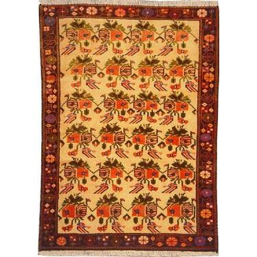 "Authentic Persian Rug saveh Traditional Style Hand-Knotted Indoor Area Rug with Natural Wool and Cotton  4'6""  X  3'3"" ABCR02273"