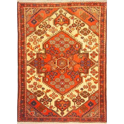 "Authentic Persian Rug saveh Traditional Style Hand-Knotted Indoor Area Rug with Natural Wool and Cotton  4'9""  X  3'7"" ABCR02803"