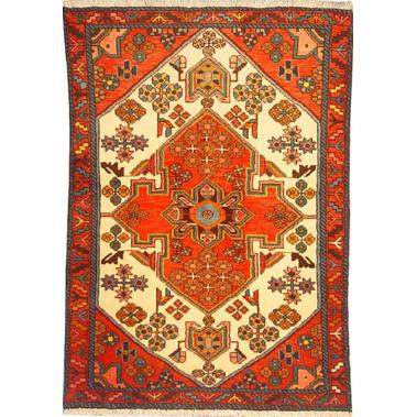 "Authentic Persian Rug saveh Traditional Style Hand-Knotted Indoor Area Rug with Natural Wool and Cotton  4'11""  X  3'3"" ABCR02169"