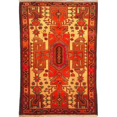 "Authentic Persian Rug saveh Traditional Style Hand-Knotted Indoor Area Rug with Natural Wool and Cotton  4'9""  X  3'3"" ABCR02487"