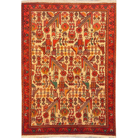 "Authentic Persian Rug saveh Traditional Style Hand-Knotted Indoor Area Rug with Natural Wool and Cotton  4'9""  X  3'5"" ABCR02777"