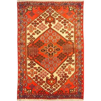 "Authentic Persian Rug saveh Traditional Style Hand-Knotted Indoor Area Rug with Natural Wool and Cotton  5'2""  X  3'3"" ABCR02531"