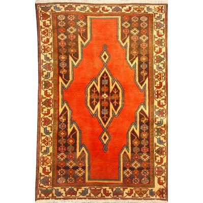 "Authentic Persian Rug saveh Traditional Style Hand-Knotted Indoor Area Rug with Natural Wool and Cotton  5'1""  X  3'3"" ABCR02185"