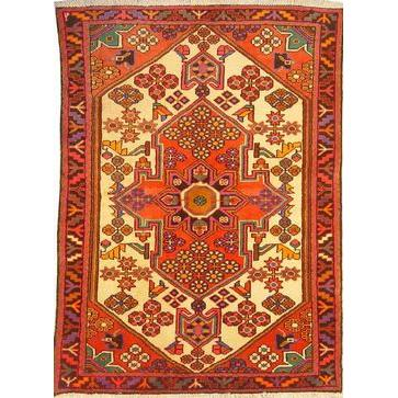 "Authentic Persian Rug saveh Traditional Style Hand-Knotted Indoor Area Rug with Natural Wool and Cotton  3'5""  X  4'8"" ABCR02697"