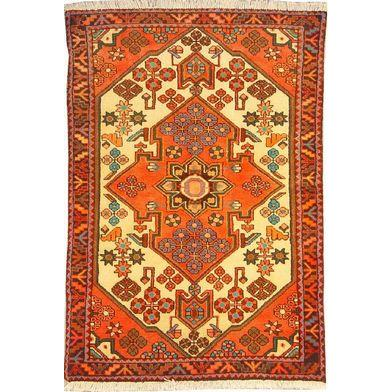 "Authentic Persian Rug saveh Traditional Style Hand-Knotted Indoor Area Rug with Natural Wool and Cotton  4'9""  X  3'3"" ABCR02544"