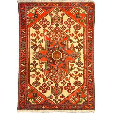 "Authentic Persian Rug saveh Traditional Style Hand-Knotted Indoor Area Rug with Natural Wool and Cotton  4'9""  X  3'3""  ABCR02545"