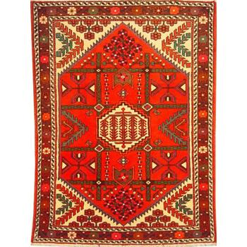"Authentic Persian Rug saveh Traditional Style Hand-Knotted Indoor Area Rug with Natural Wool and Cotton  4'11""  X  3'7"" ABCR02188"
