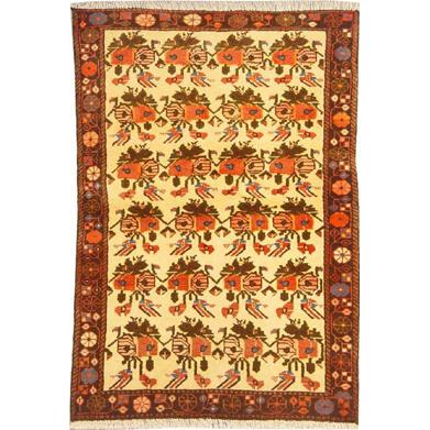 "Authentic Persian Rug saveh Traditional Style Hand-Knotted Indoor Area Rug with Natural Wool and Cotton  4'7""  X  3'3"" ABCR02170"