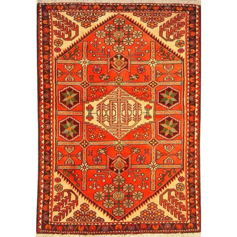 "Authentic Persian Rug saveh Traditional Style Hand-Knotted Indoor Area Rug with Natural Wool and Cotton  4'9""  X  3'3"" ABCR02840"
