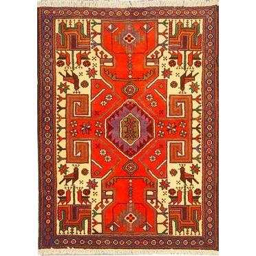 "Authentic Persian Rug saveh Traditional Style Hand-Knotted Indoor Area Rug with Natural Wool and Cotton  4'7""  X  3'5"" ABCR02542"